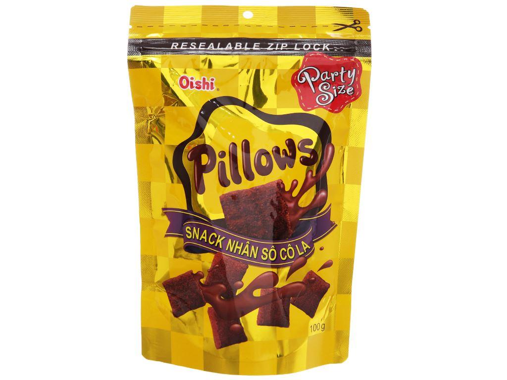 Snack nhân sô cô la Oishi Pillows gói 100g 2