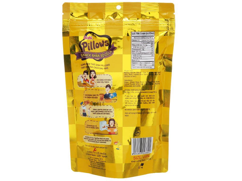 Snack nhân sô cô la Oishi Pillows gói 100g 3