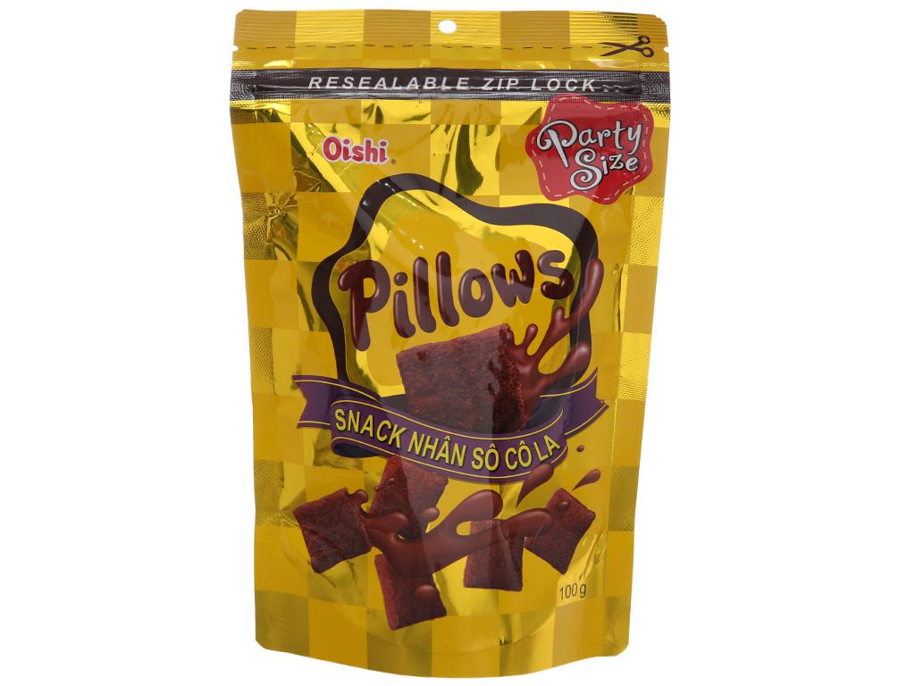 Snack nhân sô cô la Oishi Pillows gói 100g 1