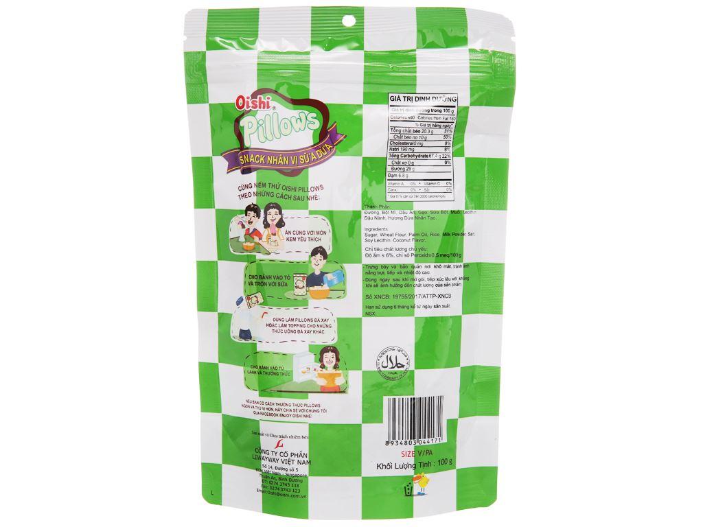 Snack nhân vị sữa dừa Oishi Pillows gói 100g 2