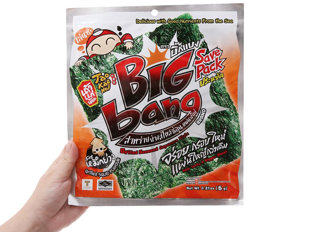 Snack rong biển giòn vị mực Tao Kae Noi Big Bang gói 6g 4