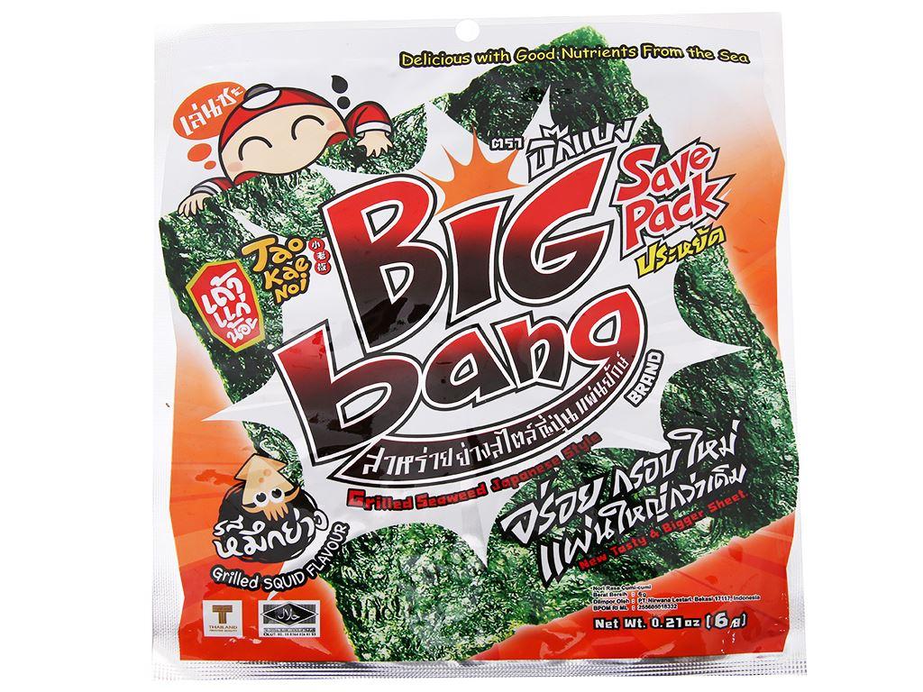 Snack rong biển giòn vị mực Tao Kae Noi Big Bang gói 6g 2