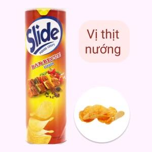 Snack khoai tây vị thịt nướng Slide lon 160g