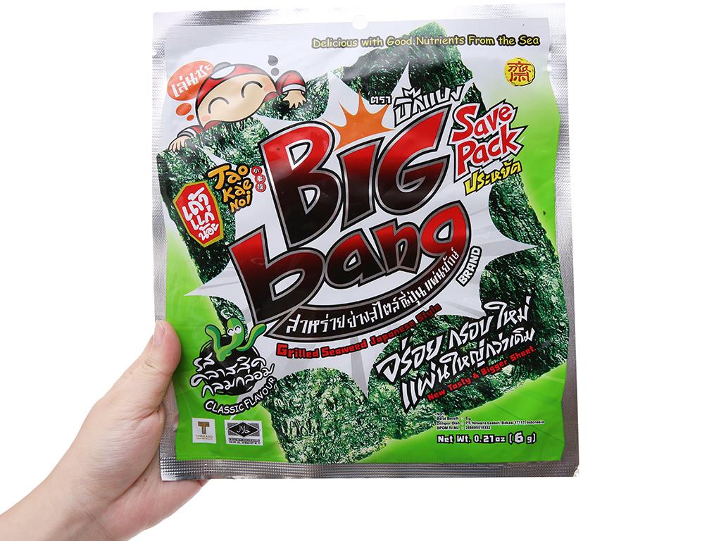 Snack rong biển giòn vị truyền thống Tao Kae Noi Big Bang gói 6g 4