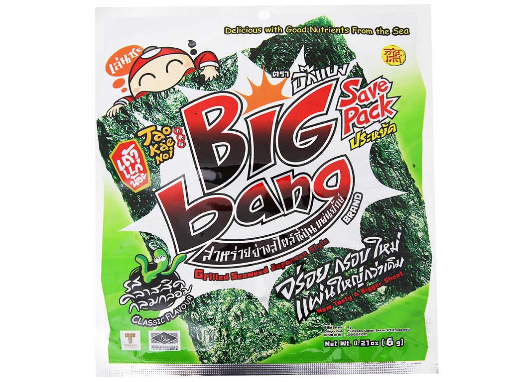 Snack rong biển giòn vị truyền thống Tao Kae Noi Big Bang gói 6g 6