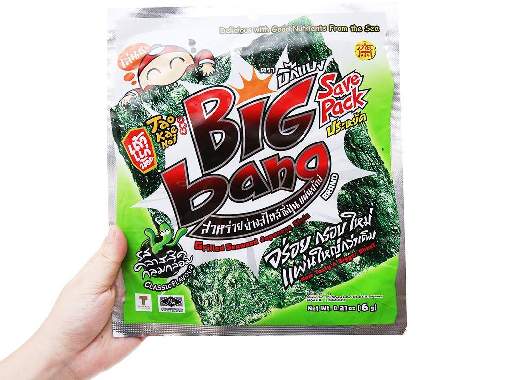 Snack rong biển giòn vị truyền thống Tao Kae Noi Big Bang gói 6g 8