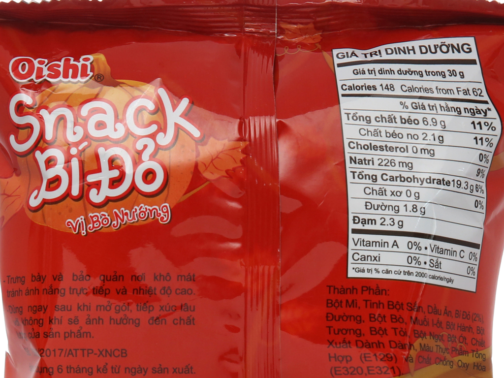 Snack bí đỏ vị bò nướng Oishi gói 42g 5
