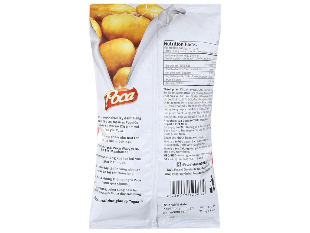 Snack khoai tây Poca Wavy Vị bò bít tết Manhattan 100g 2