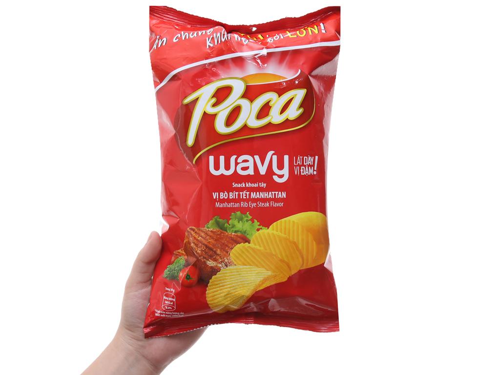 Snack khoai tây Poca Wavy Vị bò bít tết Manhattan 100g 4