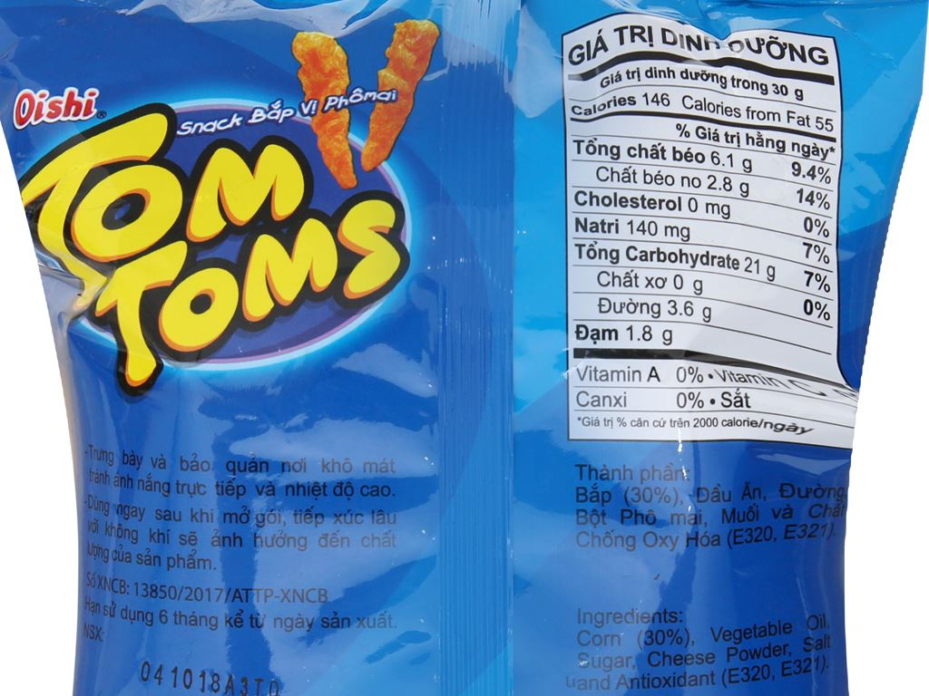 Snack bắp vị phô mai Tom Toms Tom Toms gói 42g 5