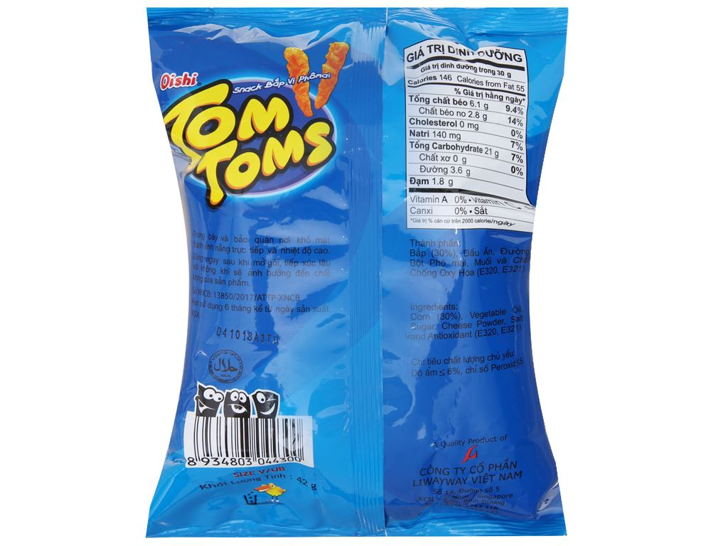 Snack bắp vị phô mai Tom Toms Tom Toms gói 42g 2