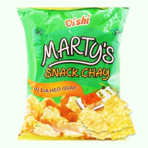 Snack chay vị da heo quay Oishi Marty's gói 40g