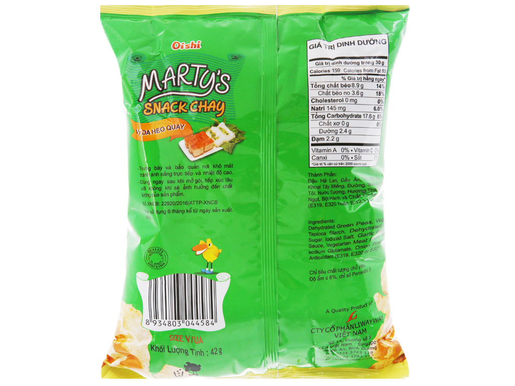 Snack chay vị da heo quay Oishi Marty's gói 42g 6