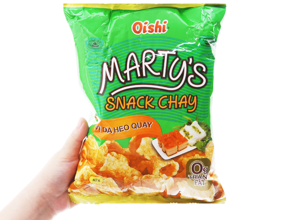 Snack chay vị da heo quay Oishi Marty's gói 42g 7