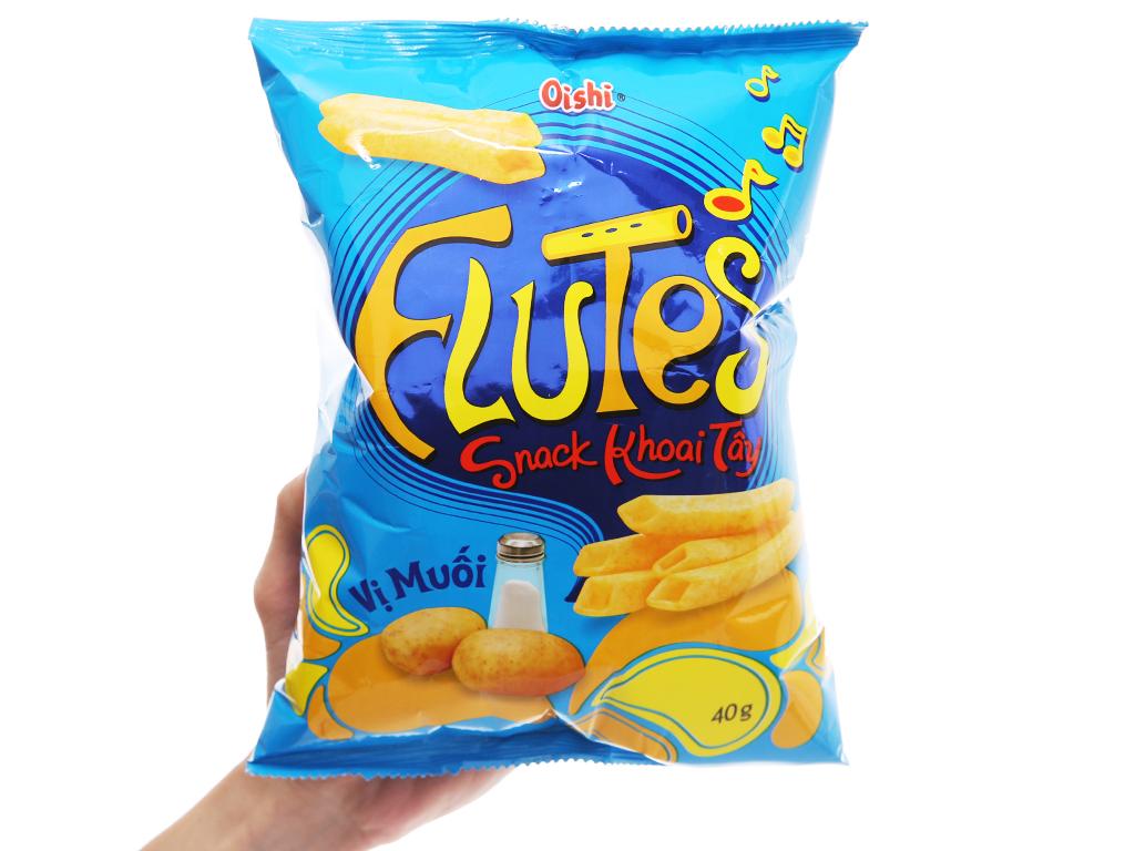 Snack khoai tây vị muối Oishi Flutes gói 40g 4