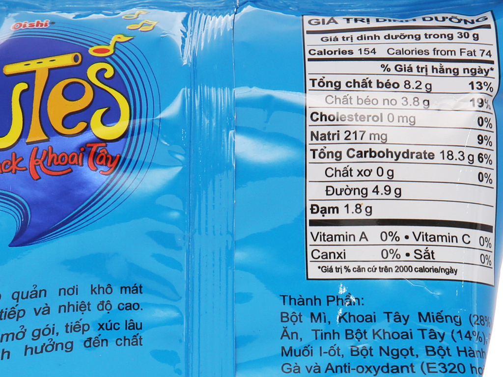 Snack khoai tây vị muối Oishi Flutes gói 40g 5