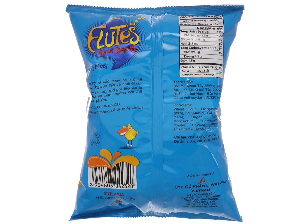 Snack khoai tây vị muối Oishi Flutes gói 40g 2