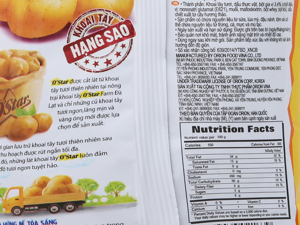 Snack khoai tây vị muối O'star gói 48g 5