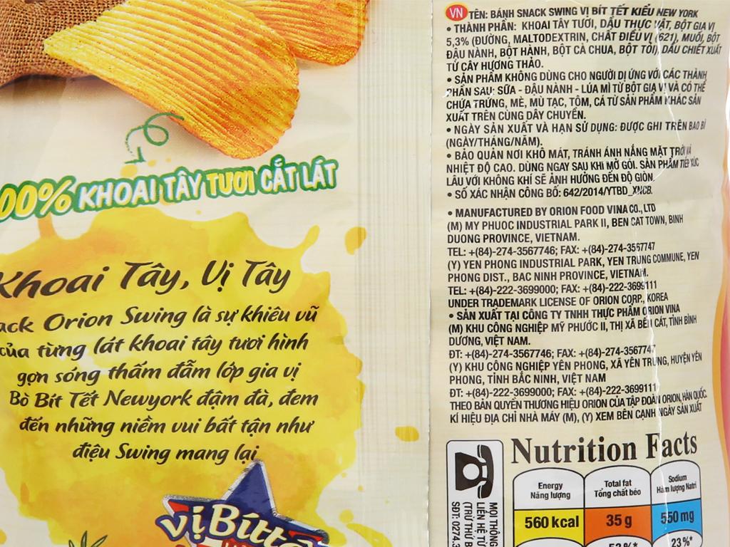 Snack khoai tây vị bít tết kiểu New York Swing gói 48g 5