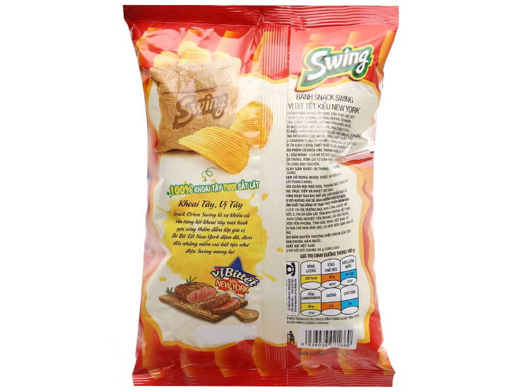 Snack khoai tây vị bít tết kiểu new york Swing gói 63g 9