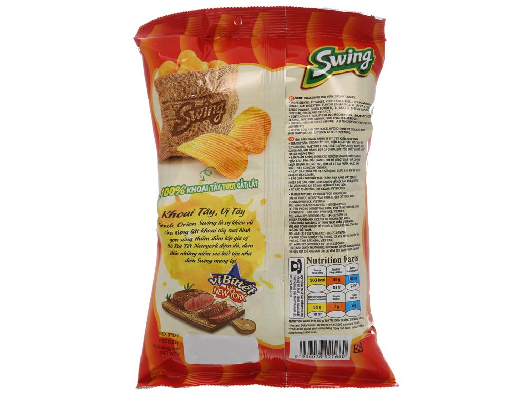 Snack khoai tây vị bít tết kiểu New York Swing gói 48g 2