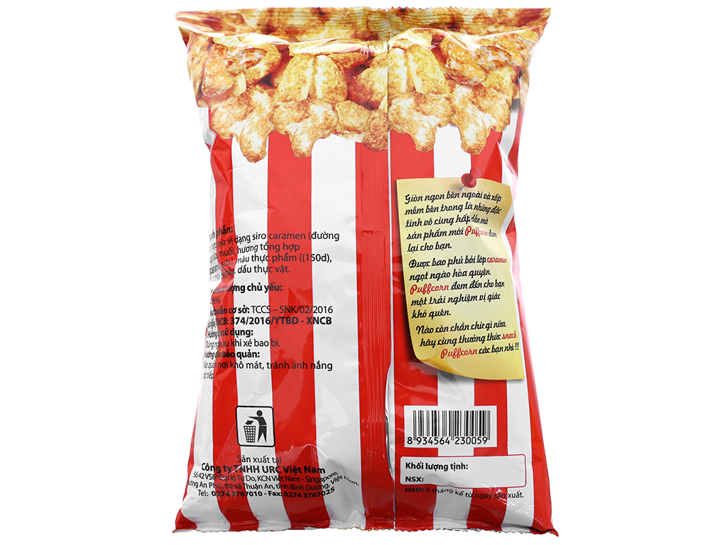 Snack vị caramen Puff Corn gói 45g 2