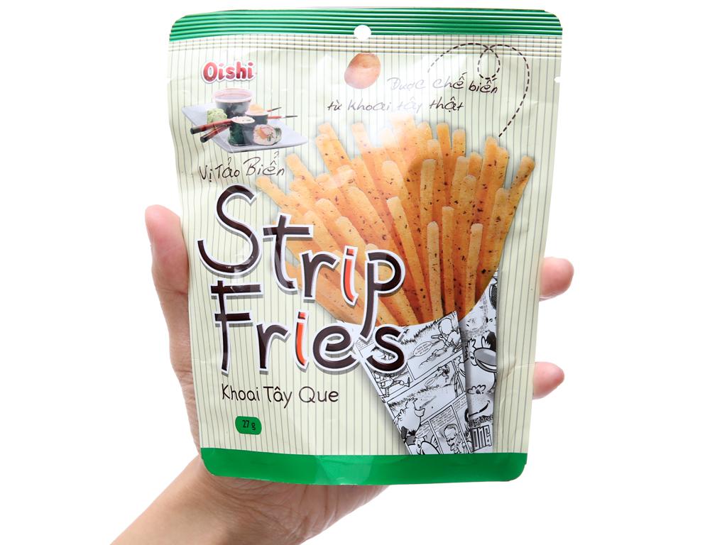 Snack khoai tây que vị tảo biển Oishi Strip Fries gói 27g 3