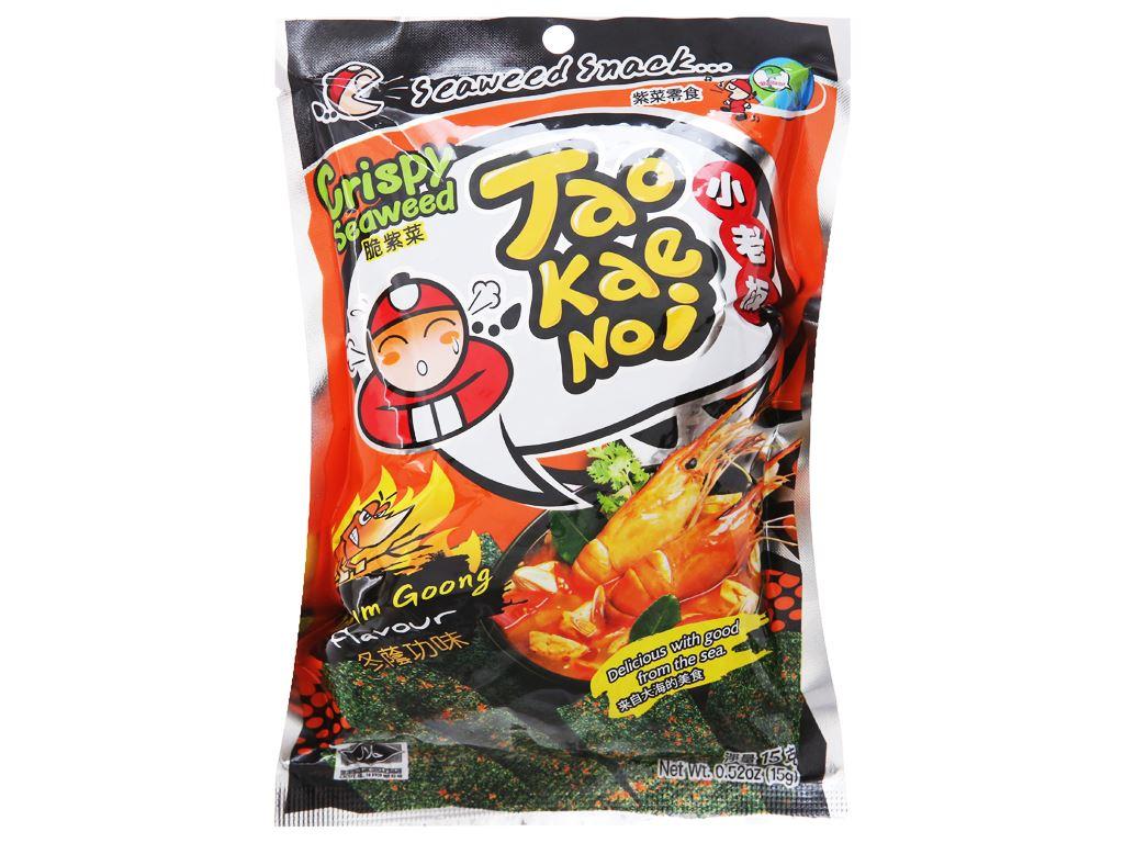 Snack rong biển giòn Tao Kae Noi vị chua cay gói 15g 2