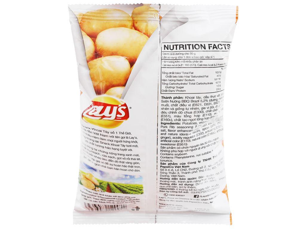 Snack khoai tây vị sườn nướng bbq brazil Lay's gói 29g 2