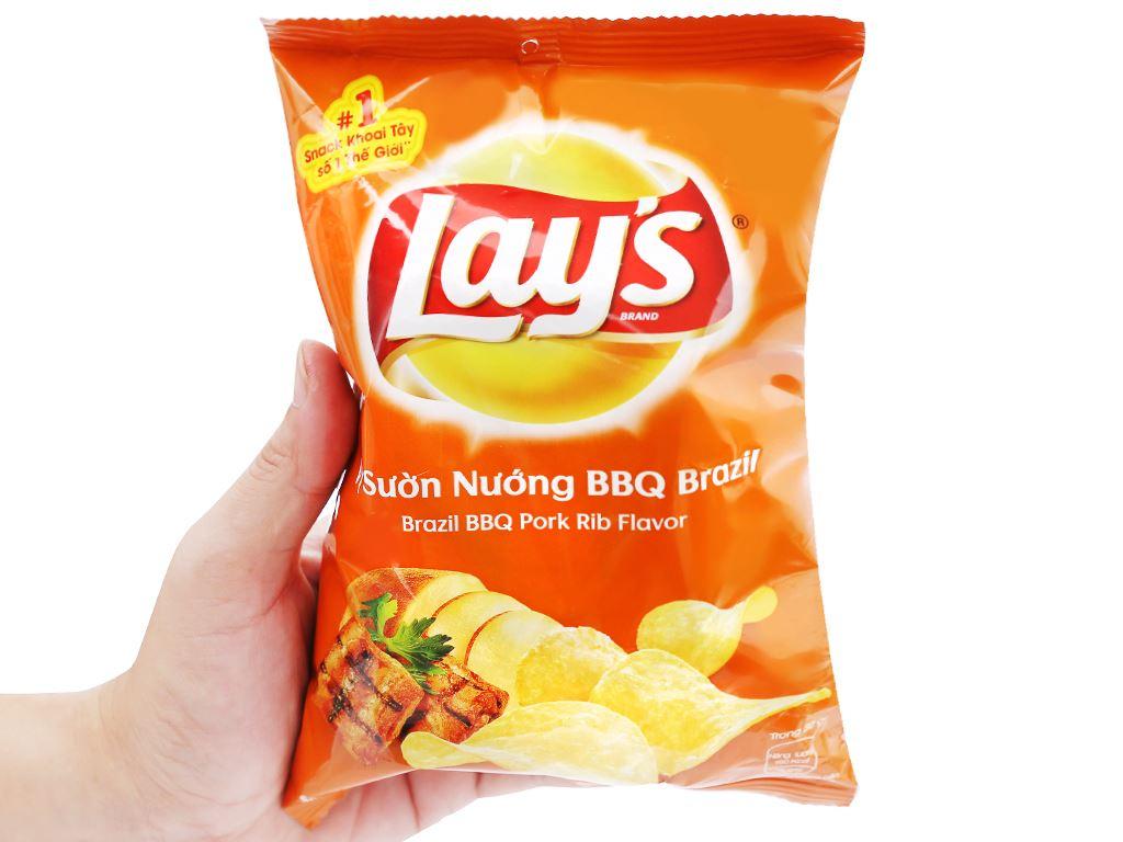 Snack khoai tây vị sườn nướng bbq brazil Lay's gói 29g 3