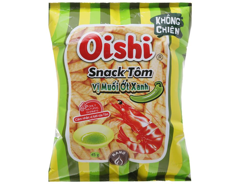Snack tôm Oishi Vị muối ớt xanh 45g 1