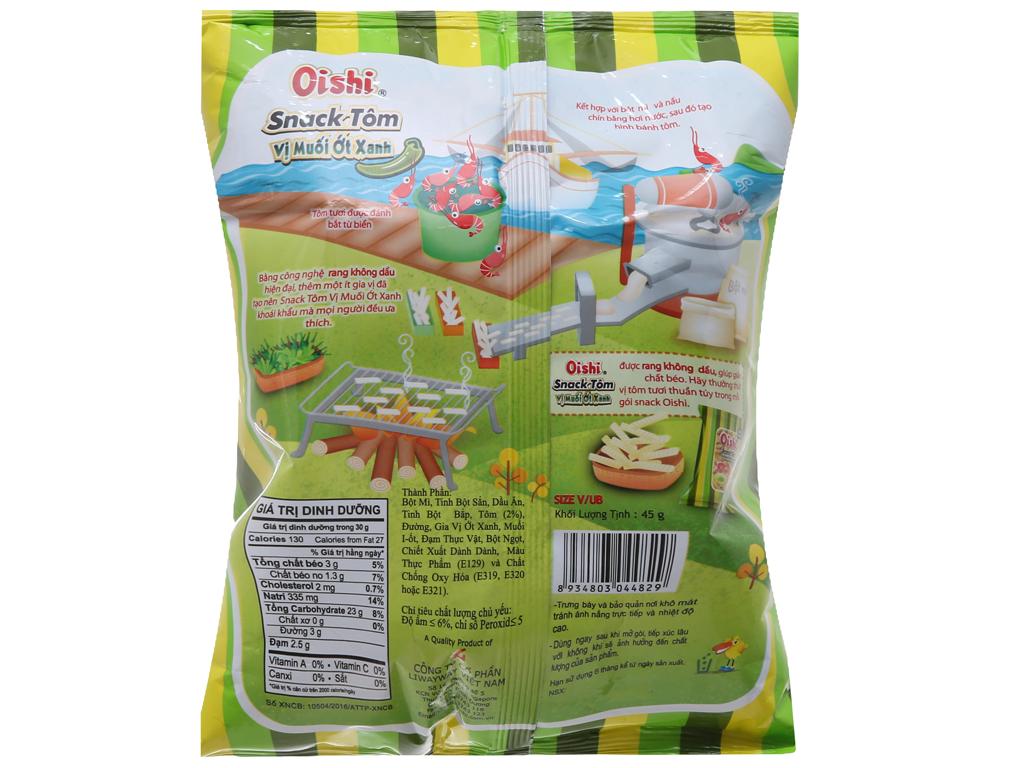 Snack tôm Oishi Vị muối ớt xanh 45g 2
