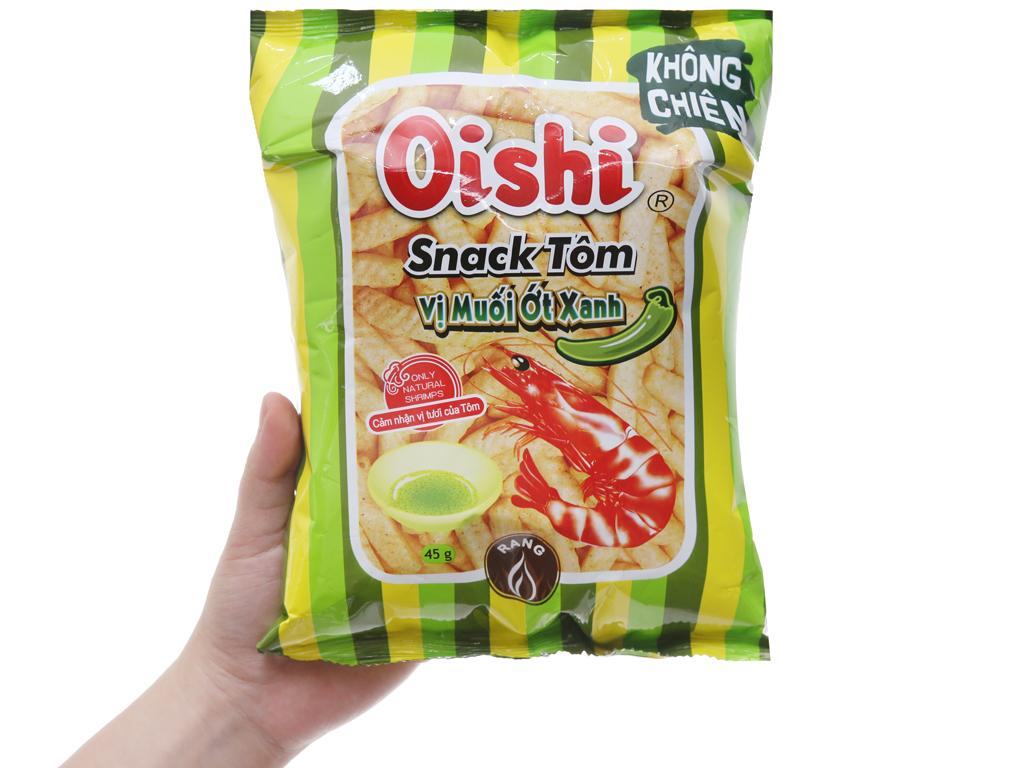 Snack tôm Oishi Vị muối ớt xanh 45g 3