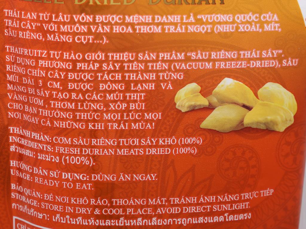 Sầu riêng Thái sấy giòn Thaifruitz gói 80g 3