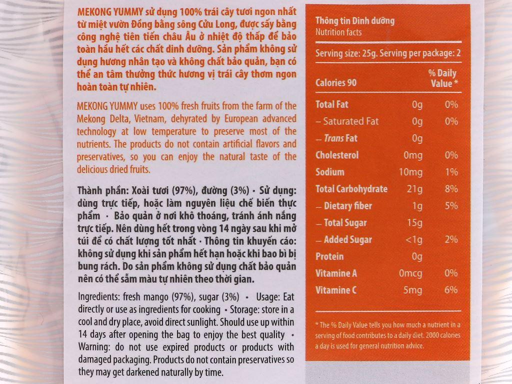 Xoài sấy dẻo Mekong Yummy gói 50g 3