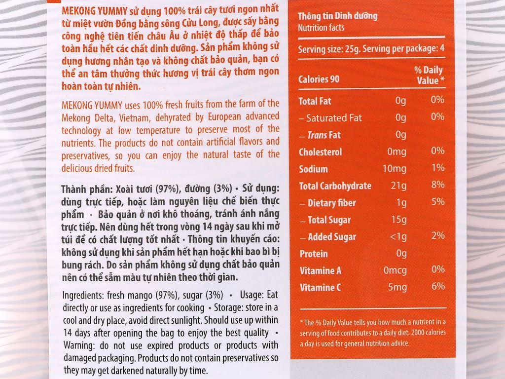 Xoài sấy dẻo Mekong Yummy gói 100g 3
