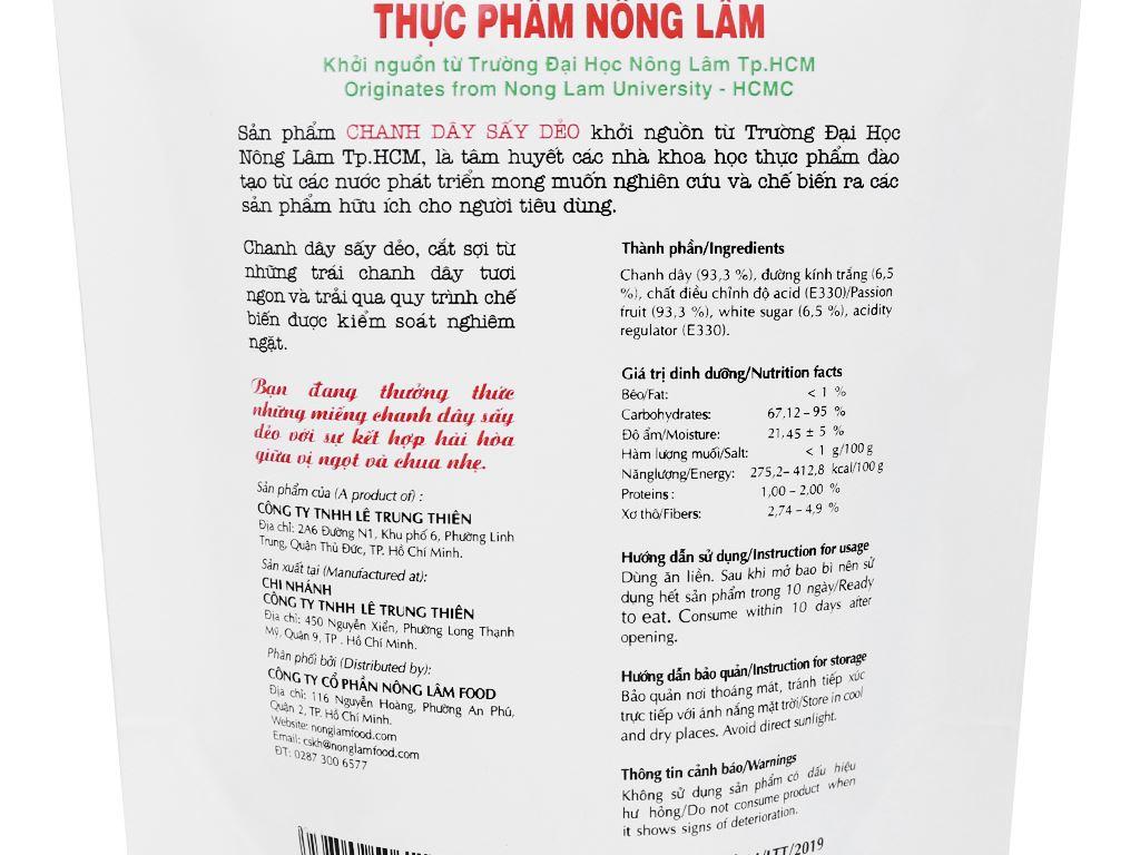 Chanh dây sấy dẻo Nong Lam Food túi 45g 3