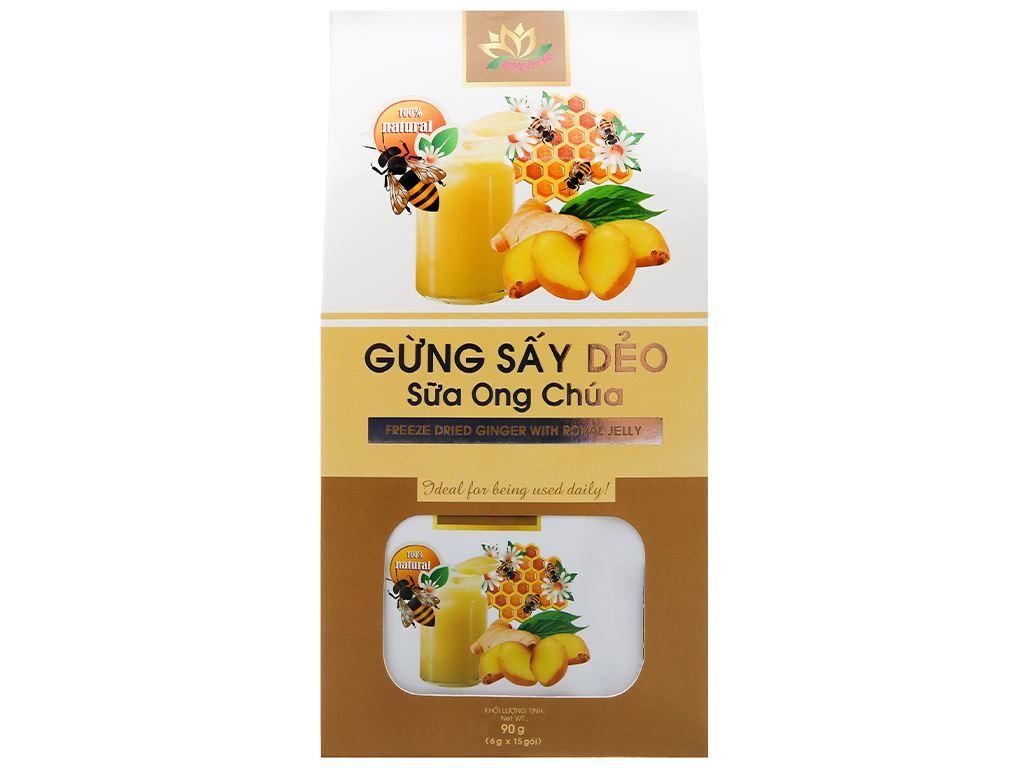 Gừng sấy dẻo sữa ong chúa Hương Sen Việt hộp 90g 1