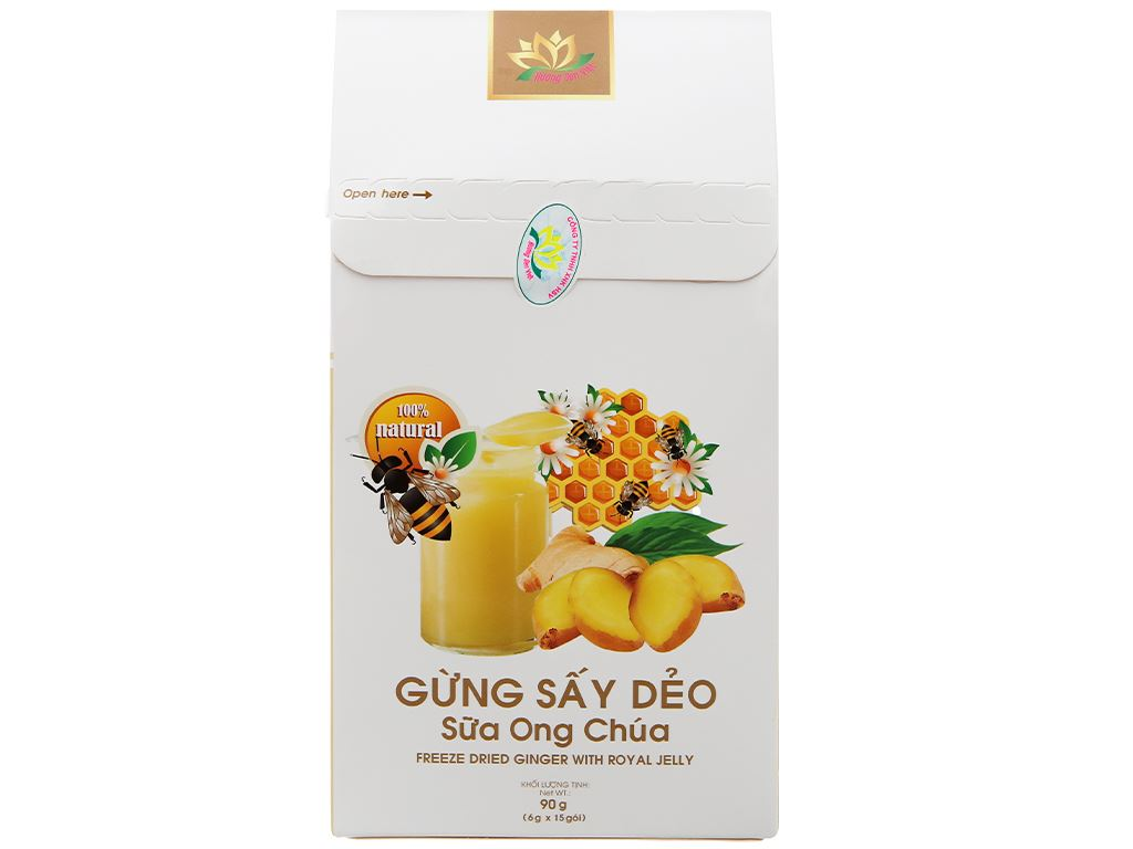 Gừng sấy dẻo sữa ong chúa Hương Sen Việt hộp 90g 2