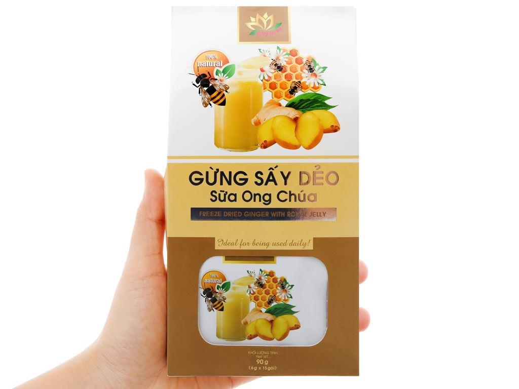 Gừng sấy dẻo sữa ong chúa Hương Sen Việt hộp 90g 7