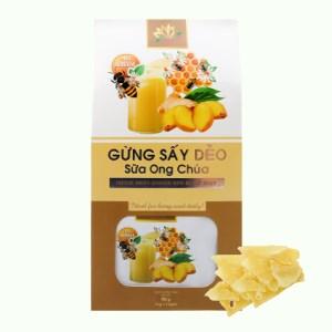 Gừng sấy dẻo sữa ong chúa Hương Sen Việt hộp 90g