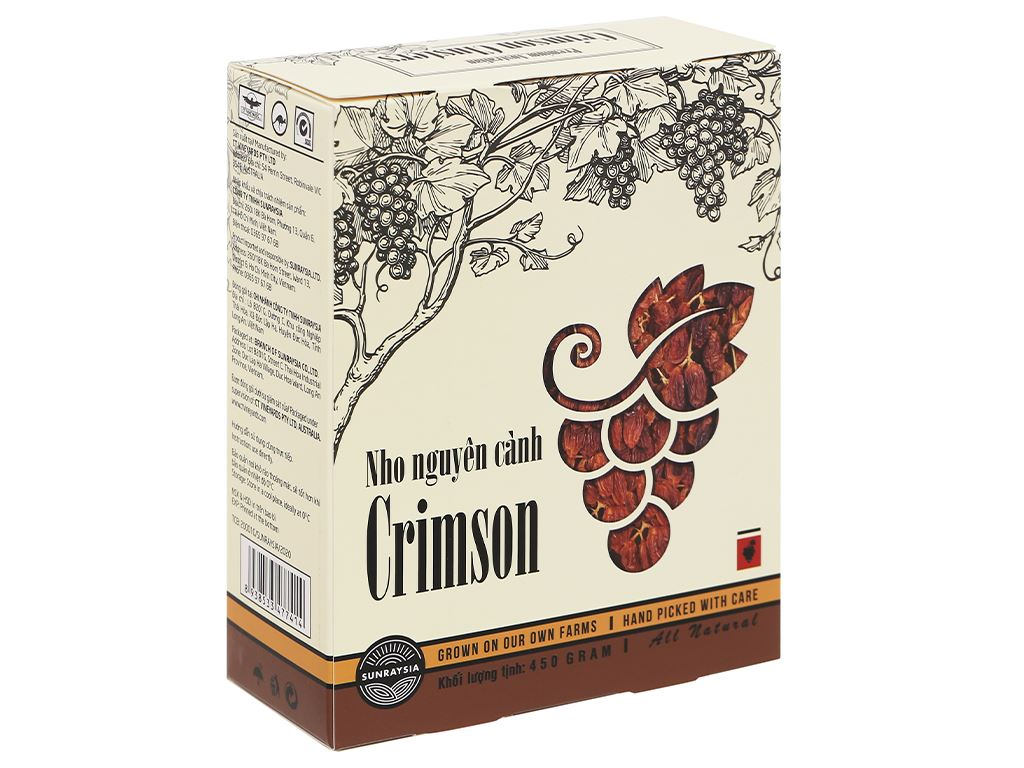 Nho khô nguyên cành Sunraysia Crimson hộp 450g 1