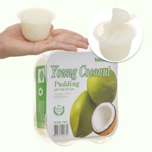 Thạch pudding dừa vị dừa non Nanano lốc 432g (4 hộp x 108g)
