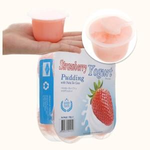 Thạch pudding dừa vị sữa chua dâu Nanaco lốc 432g (4 hộp x 108g)