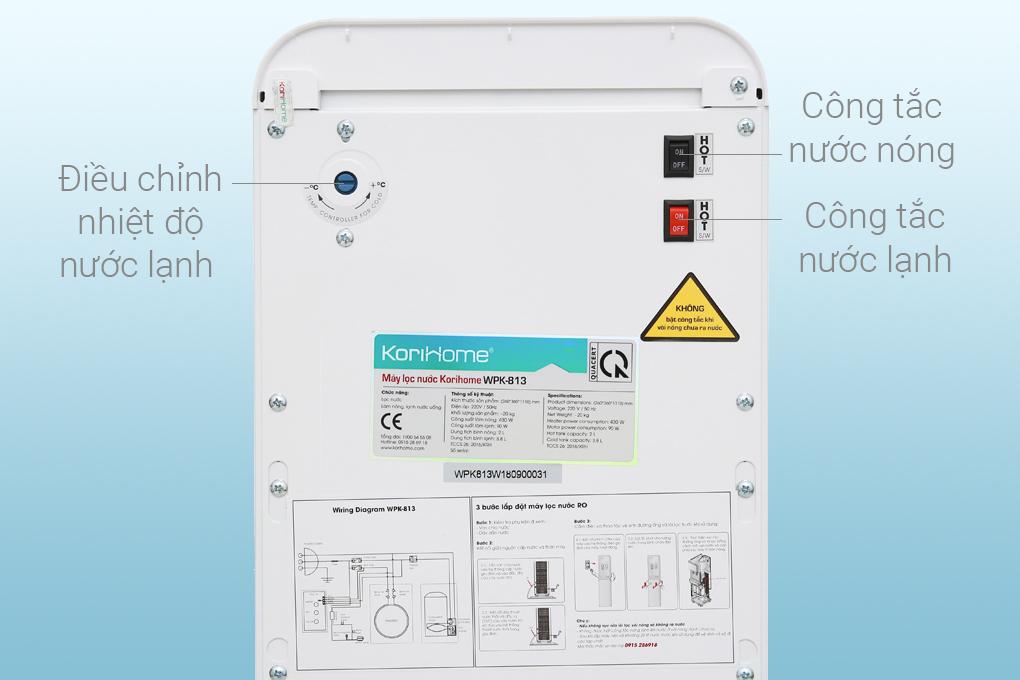 Máy lọc nước RO nóng lạnh Korihome WPK-813 6 lõi - Điều chỉnh độ lạnh tùy thích
