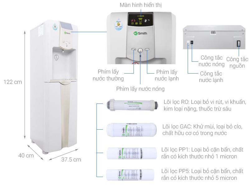 Thông số kỹ thuật Máy lọc nước RO nóng lạnh AOSmith ADR75-V-ET-1 5 lõi
