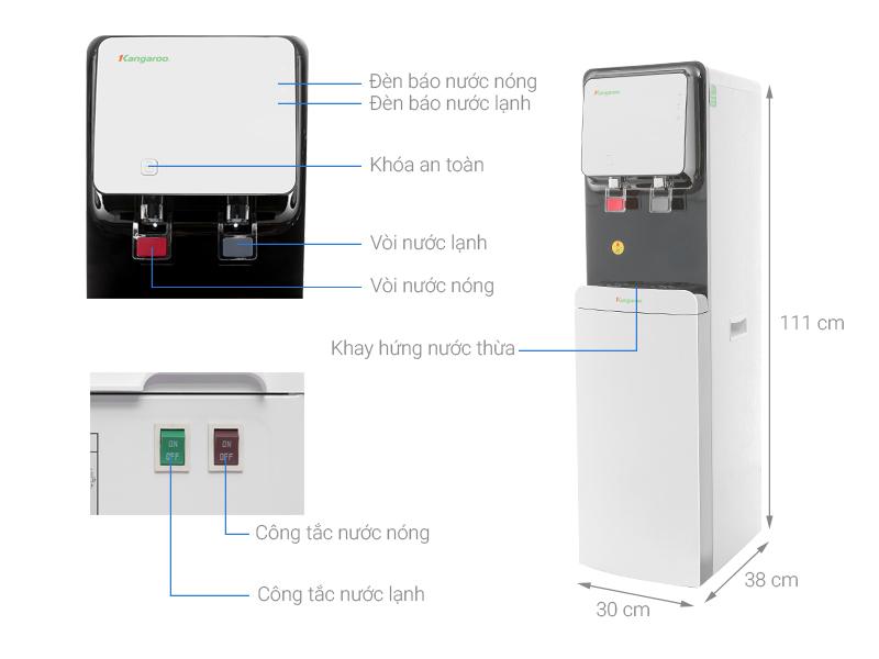 Thông số kỹ thuật Máy lọc nước RO nóng lạnh Kangaroo KG61A3