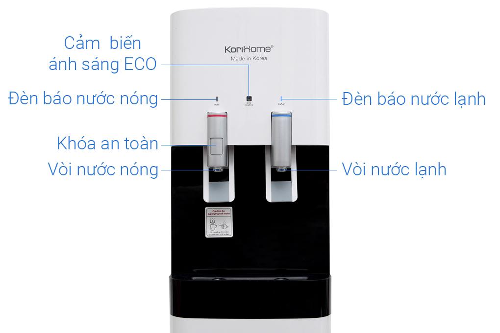Thiết kế 2 vòi nước nóng, nước lạnh riêng biệt - Máy lọc nước RO nóng lạnh KoriHome WPK-818-S 6 lõi