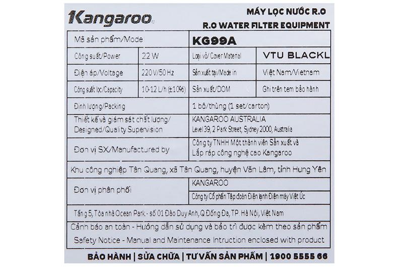 Thích hợp sử dụng gia đình, văn phòng - Máy lọc nước Kangaroo KG99A VTU KG
