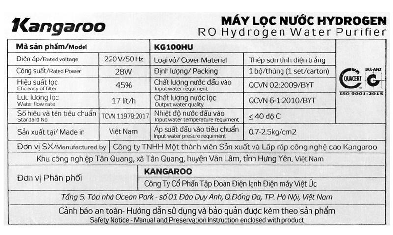 Công suất lọc nước đạt 17 lít/h - Máy lọc nước RO Kangaroo KG100HU 5 lõi